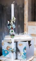 Βαπτιστικό κουτί ντουλάπα για αγόρι 104 by erofili.  Χειροποίητο κουτί ξύλινο με αποθηκευτικό χώρο σε χρώματα μπλε καφέ και με κίτρινες με λεπτομέρειες. Ζωγραφισμένο στο χέρι με θέμα το διάστημα. Συνδυάζεται με την αντίστοιχη λαμπάδα διακοσμημένη με διαστημόπλοια πάνινα ραμμένα και βαμμένα στα χρώματα του κουτιού. Στο κατάστημα μας θα βρείτε μεγάλη συλλογή από βαφτιστικά υψηλής ποιότητας και αισθητικής, λαδοσετ, μαρτυρικά, ευχολόγια, λαμπάδες μπομπονιέρες και ότι άλλο μπορεί να χρειαστείτε για την βάφτιση.