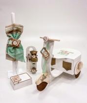 """Ξύλινο βαπτιστικό κουτί """"world travel"""" by elena manakou  Χειροποίητο ξύλινο κουτί βάπτισης βέσπα με θέμα """"world travel"""" ζωγραφισμένο στο χέρι σε χρώματα σκούρο μπεζ και βεραμάν και διακοσμημένο με υφάσματα στα ανάλογα χρώματα και συνδυάζεται με τη λαμπάδα, το λαδοσετ (μπουκαλάκι, σαπουνάκι και 3 μικρά κεράκια) όλα στο ίδιο ύφος με το κουτί."""