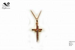 Βαπτιστικός σταυρός 10 για κορίτσι 2,4 γραμμαρίων σε ροζ χρυσό με λευκά μπριγιάν 14 εκατοστών του καρατίου