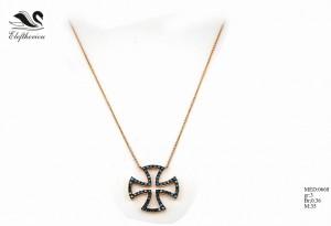 Βαπτιστικός σταυρός 11 για κορίτσι 3,6 γραμμαρίων σε ροζ χρυσό με πράσινα μπριγιάν 36 εκατοστών του καρατίου και καφέ μπριγιάν 23 εκατοστών του κταραίου