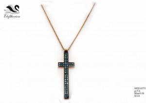Βαπτιστικός σταυρός 15 για κορίτσι 5,6 γραμμαρίων σε ροζ χρυσό με μπλε μπριγιάν 50 εκατοστών του καρατίου