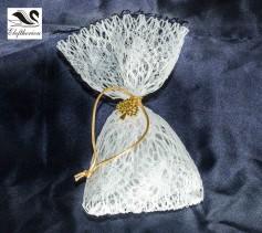 Μπομπονιέρα πουγκί με δίχτυ, χρυσό κορδόνι και διακοσμητικό 16